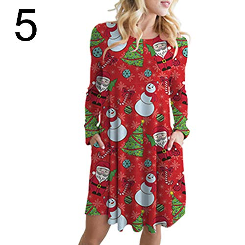 litty089 Herfst Winter voor Vrouwen Ornament, Sneeuwman Santa Elk Patroon Print O Nek Lange Mouwen, A-lijn Midi Jurk met Zak, Decor voor Kerstmis Party Kostuum