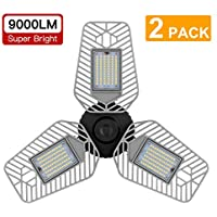 2-Pack Lzhome 9000 Lumens Deformable LED Garage Ceiling Lights