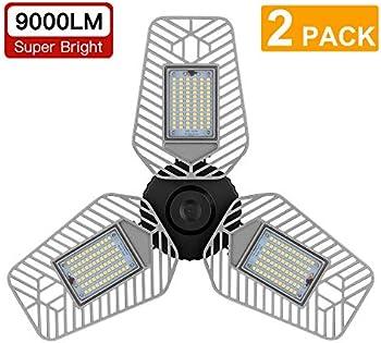 2-Pack Lzhome 9000 Lumens Deformable LED Garage Ceiling Lights