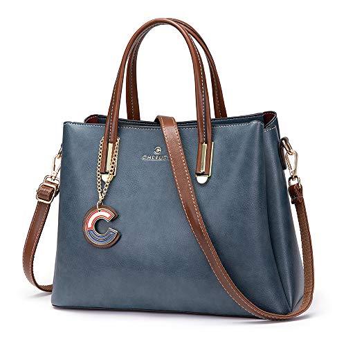 Cheruty Purses and Handbags for Women, Designer Leather Shoulder Tote Bag Satchels with Zipper(Blue)