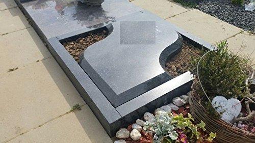 ABC Urnengrab inklusive Umrandung Grabanlage Urnengrabstein Grabstein Granit Urnenstein mit Grabeinfassung 80cm x 80cm