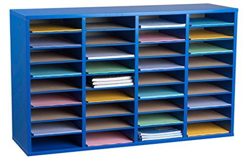 AdirOffice Wooden Literature Organizer Sorter - Stackable Mail Craft Paper Storage Holder with Removable Shelves for Office, Classrooms, and Mailrooms Organization (36 Compartment, Blue)