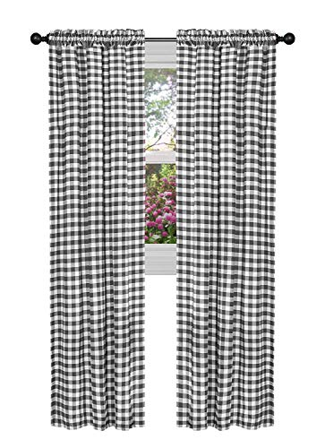GoodGram Buffalo Check Plaid Gingham Custom Fit Window Curtain Treatments - Assorted Colors & Sizes (Black, Single 84 in. Panel)