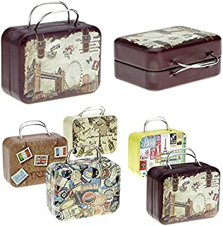 MOCA Cute Vintage Mini Portable Metal Tin Box for Earphone, iPod Shuffle, Mp3 Players, Jewelry Earrings, Finger Rings, Coins, Tea Bags, Chocolate Cans, Memory Cards, Accessories Pills - Pack of 2