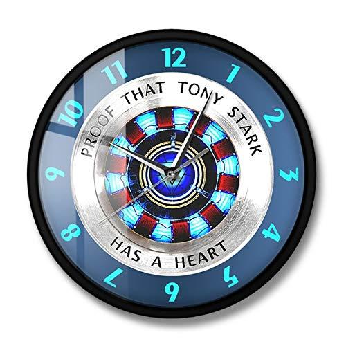 Mdsfe Prueba de Que Tony Stark Tiene un corazón ARC Reactor Reloj de Pared Superhéroe Reloj de Pared Colgante Moderno Reloj de película Decoración del hogar Arte de la Pared - Marco de Metal