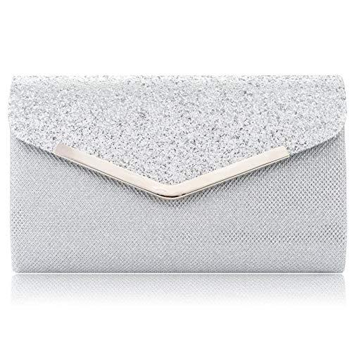 LONGBLE Damen Clutch Glitter Elegante Envelope Tasche, Handtasche Clutch Silber Glitzer Abendtasche mit abnehmbarer Kette für Hochzeit Party Abschlussball Freizeit Dating