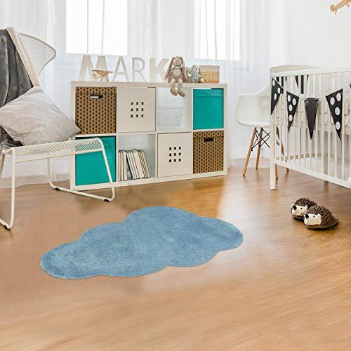 Tapis Enfant 90x160 cm Forme Originale Nuage 1 Bleu Chambre Tufté Main Coton