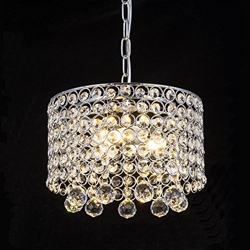 Modern Crystal Chandelier, 3-Light Flush Mount Ceiling Light Fixture 9.8Inches Diameter for Hallway, Dining Room, Bedroom, Living Room, Kitchen