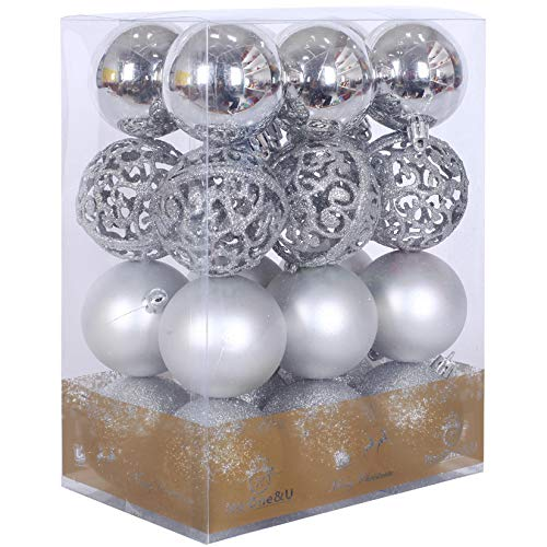 No One&U Christmas Balls Ornaments for Xmas Tree - Shatterproof Christmas Tree Decorations Perfect Hanging Ball 10 Colors 2.4Inch x 24 Pack
