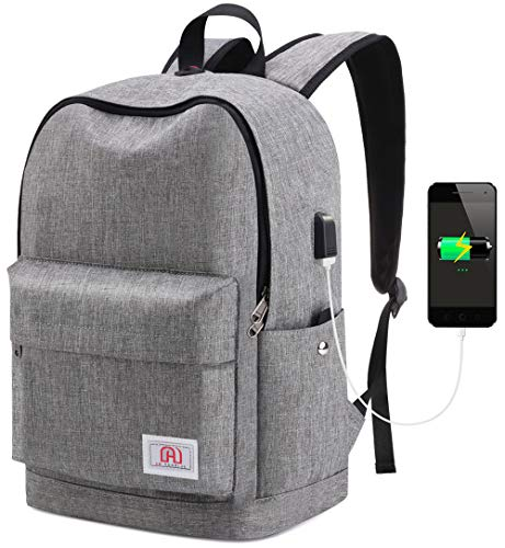 SeeBlue Travel Laptop Backpack, Lightweight Slim Professional Rucksack Bag College School Daypack For Mens Women 15.6 Inch Laptop and Notebook with USB Charging Port (Grey)