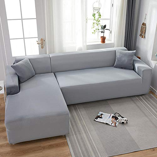 Funda para Sofá Gris Claro 4 plazas, Fundas de sofá Todo Incluido de Color sólido, Fundas de sofá elásticas Toalla de sofá Esquinero Fundas Chaise General 235-300cm (1pcs)