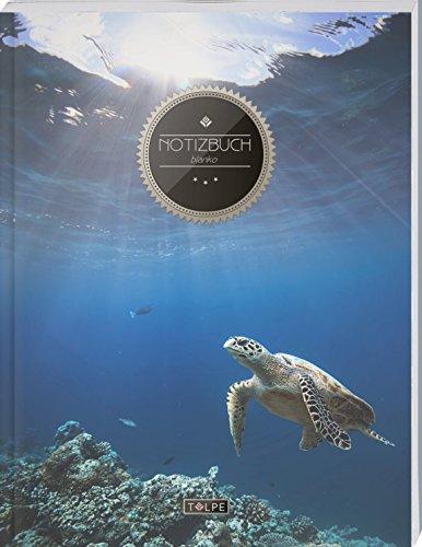 """TULPE Blanko Notizbuch A4 """"C060 Schildkröte"""" (140+ Seiten, Vintage Softcover, Seitenzahlen, Register, Weißes Papier - Dickes Notizheft, Skizzenbuch, Zeichenbuch, Blankobuch, Sketchbook)"""