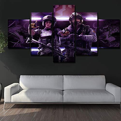 PPWYY 5 Stücke Spiel Tom Clancy's Regenbogen Sechs Belagerungen Gemälde Modern Segeltuch Drucken Dekor Wohnzimmer Bild Wandkunst Poster,A,30×40×2+30×60×2+30×80×1