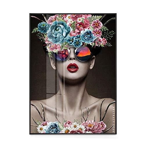 wZUN Weibliches Modell der Modekörperkunst mit Girlandendekoration Leinwandwandkunstplakatbürowohnzimmerdekoration 60x80cm Rahmenlos
