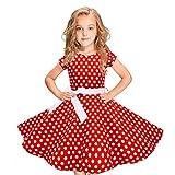erthome Robe Vintage pour Fille, balançoire à Pois Princesse Swing Rockabilly Party Dance 2-12Mois (8-10 Ans, Rouge)