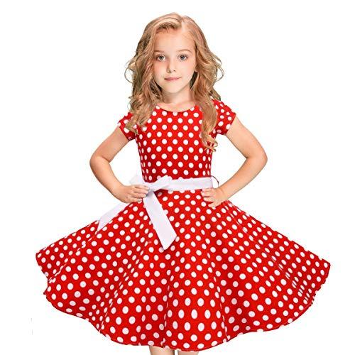MRULIC Mädchen Abendkleid Vintage Kleid Party Kleid Kostüme Kleider Swing Rockabilly Kleider mit Halskette Größe 6-12 Jahre Kindergarten Uniform(3-Rot,100)