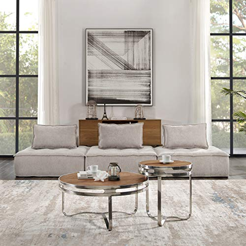 Volans Sectional Sofa, Mid Century Modern Fabric Upholstered Square Modular Sectional Sofa Couch with Two Removable Non-Slip Pillows, Living Room Sofa Set, Beige(3 PCS)