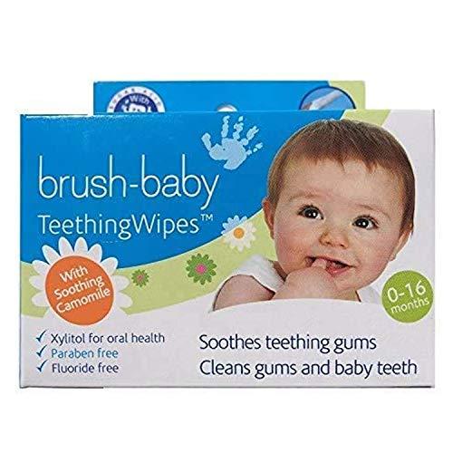 Toallitas de dentición Brush-Baby para bebés | Nacimiento - Primeros dientes | 0 - 16 meses | Toallitas para limpiar la boca, encías y lengua del bebé, con camomila | Pack de 20 toallitas individuales