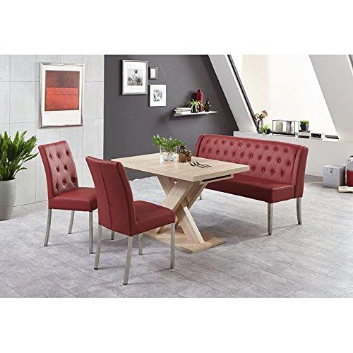 Esszimmergarnitur Komplett ? Bank mit 2 Polsterstühlen in Kunstleder bordeaux - Esstisch ausziehbar in Eiche Sonoma - 4-teilige Sitzgruppe mit 2 Stühlen