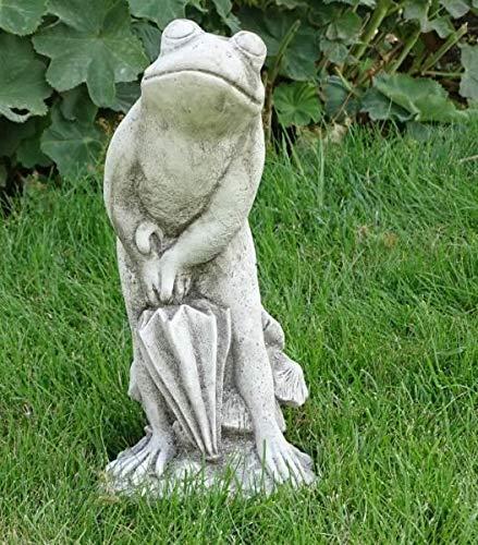 Palmenst. Frosch mit Regenschirm Umbrella Frog Antikstein Höhe Circa 36 cmx (907910194)