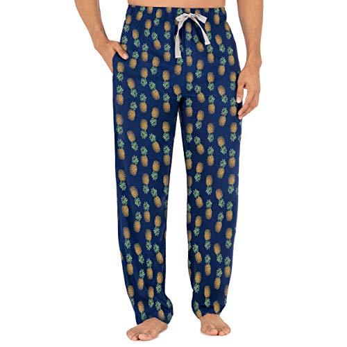 IZOD Men's Relaxed Fit 100% Cotton Printed Poplin Drawstring Sleep Pant, Pineapple, X-Large