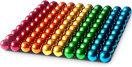 Alpha Magnetkugeln - 100 Stück - 5 mm - Extra Starke Magnete für Glas-Magnetboards, Magnettafel, Whiteboard, Tafel, Pinnwand, Kühlschrank - Magnetkugel mit Box - Regenbogenfarbend