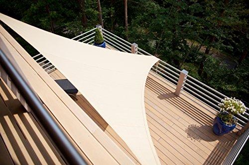 Aquagart Sonnensegel 5,4m x 5,4m x 5,4m Dreieck Sandfarben Sonnenschutz Windschutz Sonnendach