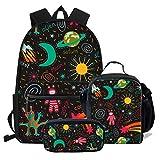 Chaqlin - Juego de mochila escolar para niños, 3 piezas, diseño de planeta, Poliéster, (3 piezas/juego) patrón 5, Talla única