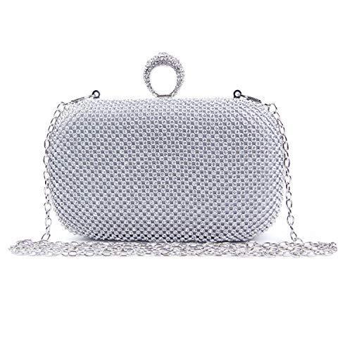 EVEOUT Abend Clutch mit Schimmerndem Kristalldiamant für Damen,Einzigartige Verschlussdamen Partyhochzeits Abschlussballbeutel für Braut Umhängetasche aus Satin mit Kette Geschenk für Frauen