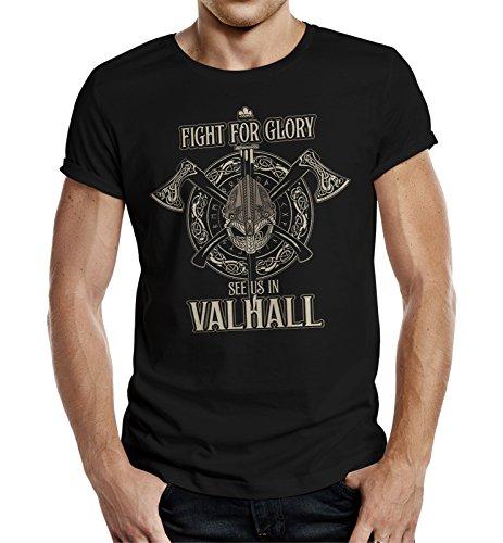 LOBO NEGRO Original Design, T-Shirt für den Wikinger Nordmann Fan: Fight for Glory -XXL