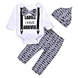 3Pcs Cute Boys Hipster Bowtie Strap Long Sleeve Bodysuit +Moustache Pants+Hat Outfits Set