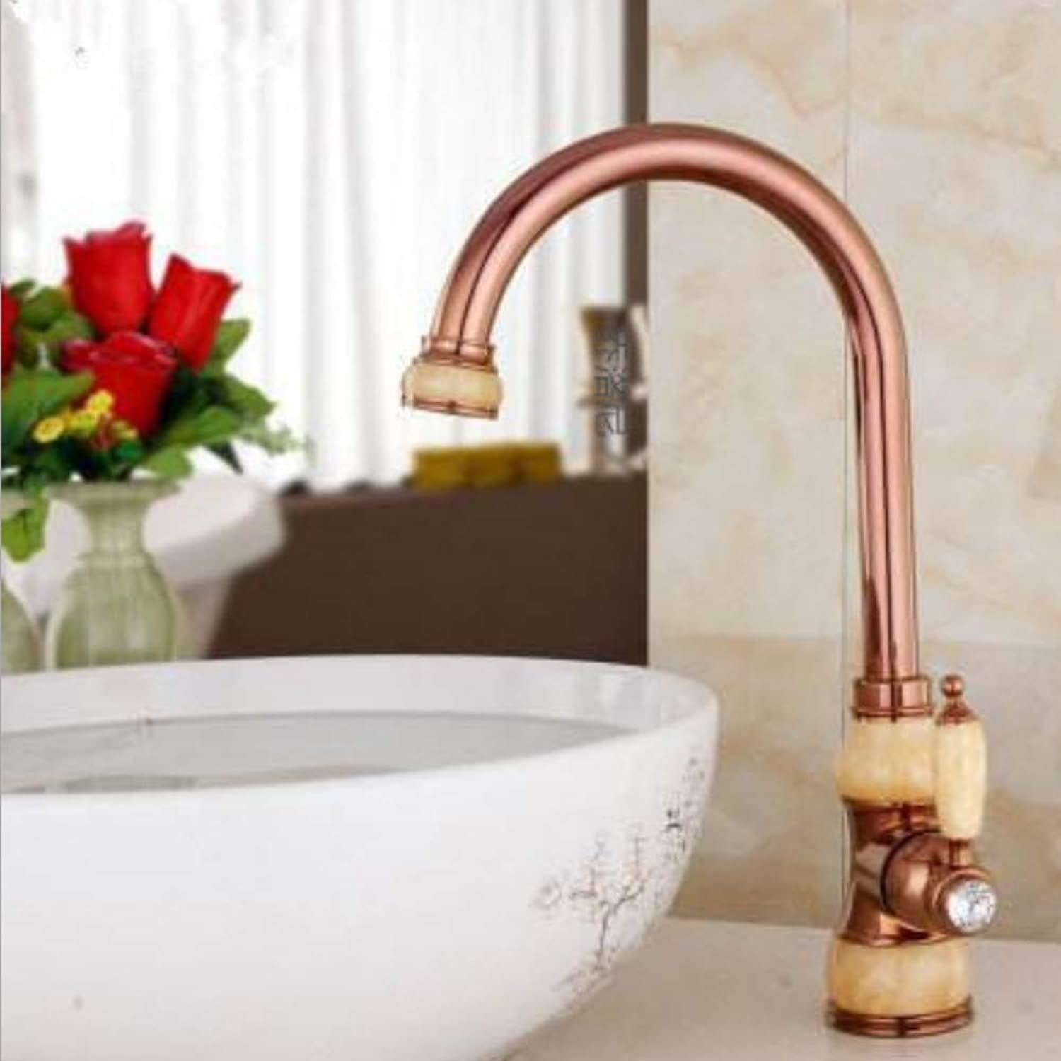 Lddpl European Jade and gold Kitchen Faucet hot and Cold Vegetables Basin redating taps All Copper Antique Basin Faucet Water tap