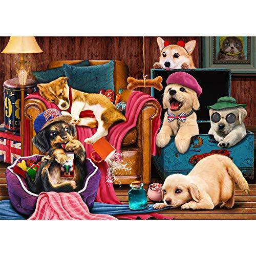 Puzzle de 1000 piezas, puzzle para adultos, 1000 piezas, puzzle de adultos, colorido, juego de habilidad para toda la familia – mascota perro