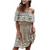 Off The Shoulder Dress Ruffle Sundress Empire Waist Floral Maxi Dresses for Women Summer Casual Sexy Vestidos(White,XL)