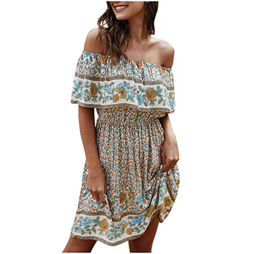 Off The Shoulder Dress Ruffle Sundress Empire Waist Floral Maxi Dresses for Women Summer Casual Sexy Vestidos(White,M)