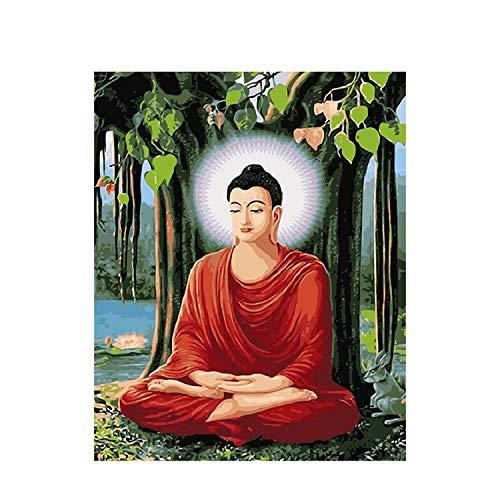 Small Lake Ölgemälde nach Zahlen Buddha Bilder Leinwand Kunst Gemälde DIY Ölgemälde nach Zahlen Benutzerdefinierte Farbe nach Zahlen Set Wanddekoration Sieben Wandkunst-1233-60x75cm Kein Rahmen,