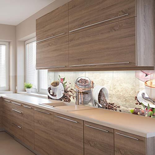 wandmotiv24 Küchenrückwand Kaffee Tasse Glas Schokolade Haselnuss 210 x 60cm (B x H) - Acrylglas 4mm Nischenrückwand, Spritzschutz, Fliesenspiegel-Ersatz, Deko Küche Vanille M1170