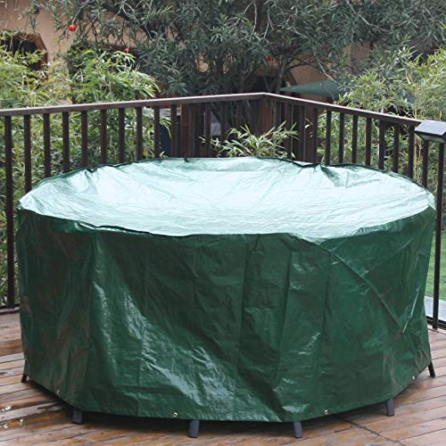 Outdoor Rattan Furniture Covers Round Patio Table Cover Waterproof - Garden Furniture Set Covers Circular for Patio Table and Chairs Set - Extra Large 190x80cm Green