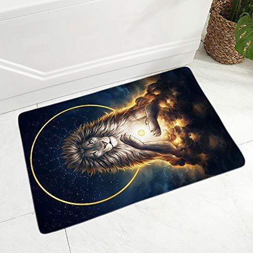 OPLJ Felpudo de acuarela con diseño de lobo de león mítico, decoración de dibujos animados, antideslizante, supersuave, de terciopelo, A17, 40 x 60 cm