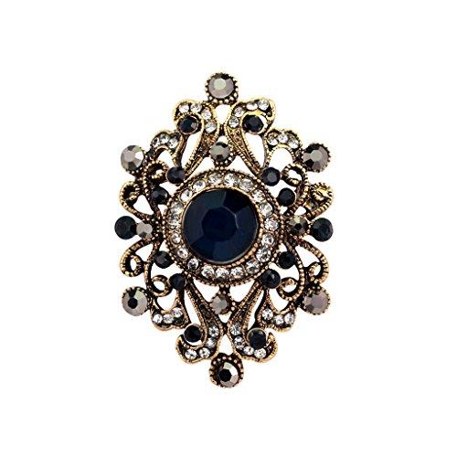 Vintage-Schmuck im alten Stil, klassische Diamantblume, vergoldete Strass-Broschen, Anstecker für Damen, blau, xl