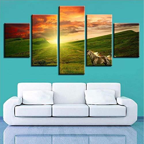 Cczxfcc Moderne canvas decoratie thuis, creatief, bedrukt, 5 delen, berg, zon, afbeeldingen, wand, kunstdruk, schilderij om te spuiten 20x35/45/55cm-avoir un Cadre