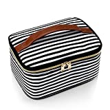 Large Makeup Bag,Portable Cosmetic Bag Travel Makeup Organizer case Make Up Bag for Women and Girls Cosmetics Toiletries Brushes Slots and Divider-Large Black/White Stripes