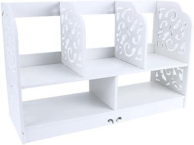 GOTOTOP Libreria Scaffale Desktop Storage Organizer Rack Tavolo Ufficio Mensola Organizzatore da Scrivania Porta Oggetti per Studenti,Desktop Organizer Cassa di stoccaggio Bianca,35 * 21.5 * 60