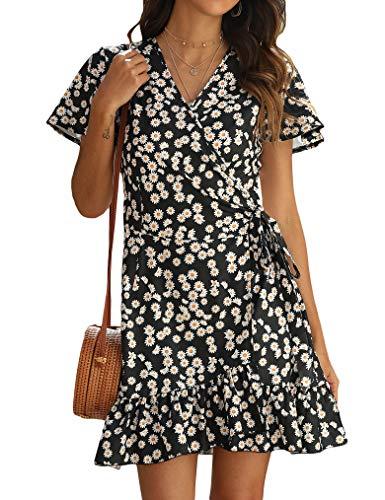Naggoo Ladies Spring Wrap Dress Floral Print Dress Short Sleeve Dress Floral Black Large