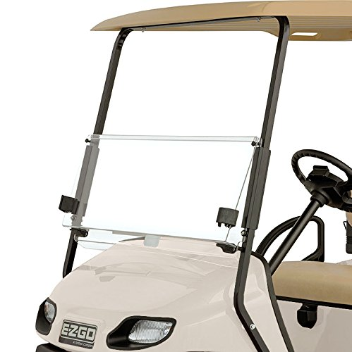 EZGO TXT 2014- Current Clear Fold Down Impact Resistant Windshield for EZGO T48 Golf Cart INSTALLS in Minutes!
