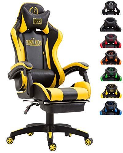 CLP Poltrona Gaming con Poggiapiedi Ignite in Similpelle I Sedia Racing Ufficio con Cuscini Removibili, Colore:Nero/Giallo