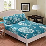 Castle Fairy Blue Ocean Style Base Teens Youngs Bed Sheet Queen Seahorse Coral White Print Kids Fitted Sheet Starfish Conch Pattern 3 PCS Duvet Sheet Sets(1 Fitted Sheet 2 Pillow Cases)