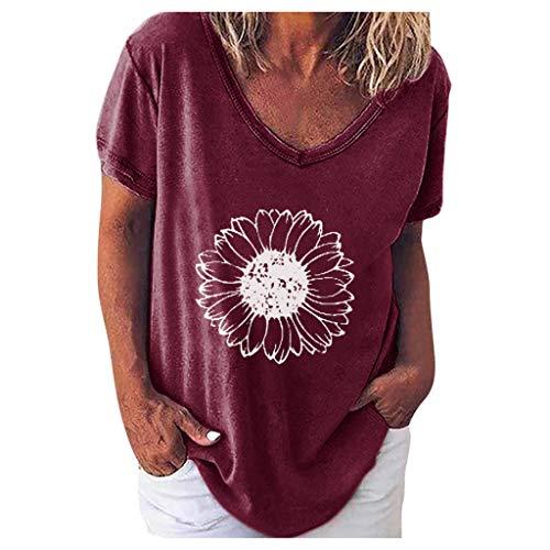 YBWZH Damen Oberteile Hippie Frauen Kurzarm T-Shirt Mit Buchstaben Muster O-Ausschnitt Sommer Casual Lose Beiläufige Große Größen Tägliche Kurzarmoberteile T-Shirt Bluse