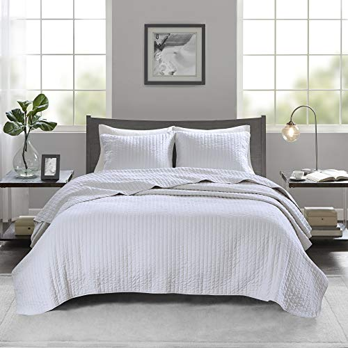 Madison Park Keaton Quilt Set - Casual Channel Stitching Design Anti-Microbial Treated, All Season, Lightweight Coverlet Bedspread Bedding, Shams, Full/Queen(90u0022x90u0022), Stripe White, 3 Piece