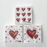 Home Collection Casa Cocina Textiles Set 60 Servilletas Papel Desechable 3 Capas Motivo Amor Corazones